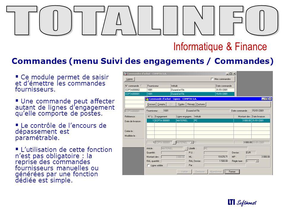 Commandes (menu Suivi des engagements / Commandes)