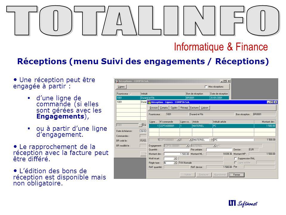 Réceptions (menu Suivi des engagements / Réceptions)