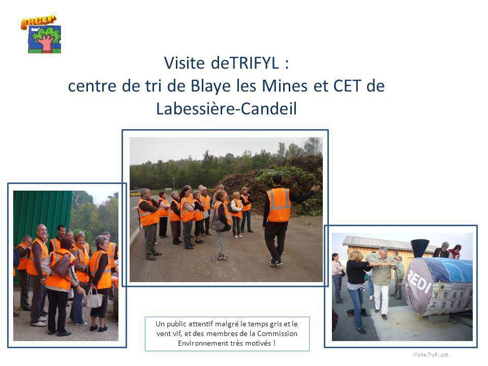 Visite deTRIFYL : centre de tri de Blaye les Mines et CET de Labessière-Candeil
