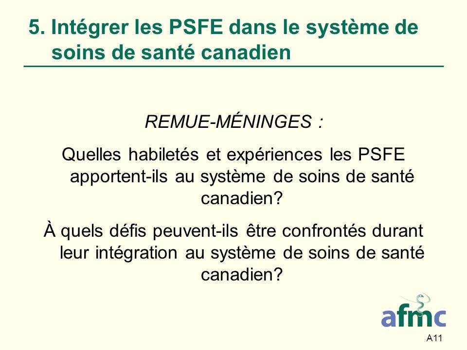 5. Intégrer les PSFE dans le système de soins de santé canadien