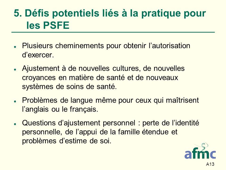 5. Défis potentiels liés à la pratique pour les PSFE