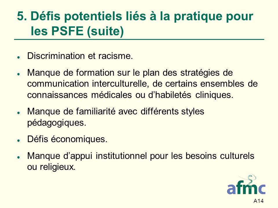 5. Défis potentiels liés à la pratique pour les PSFE (suite)