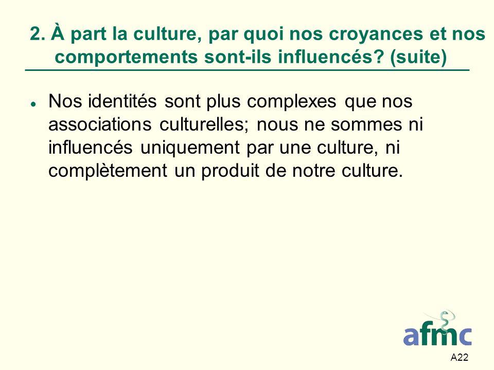 2. À part la culture, par quoi nos croyances et nos comportements sont-ils influencés (suite)
