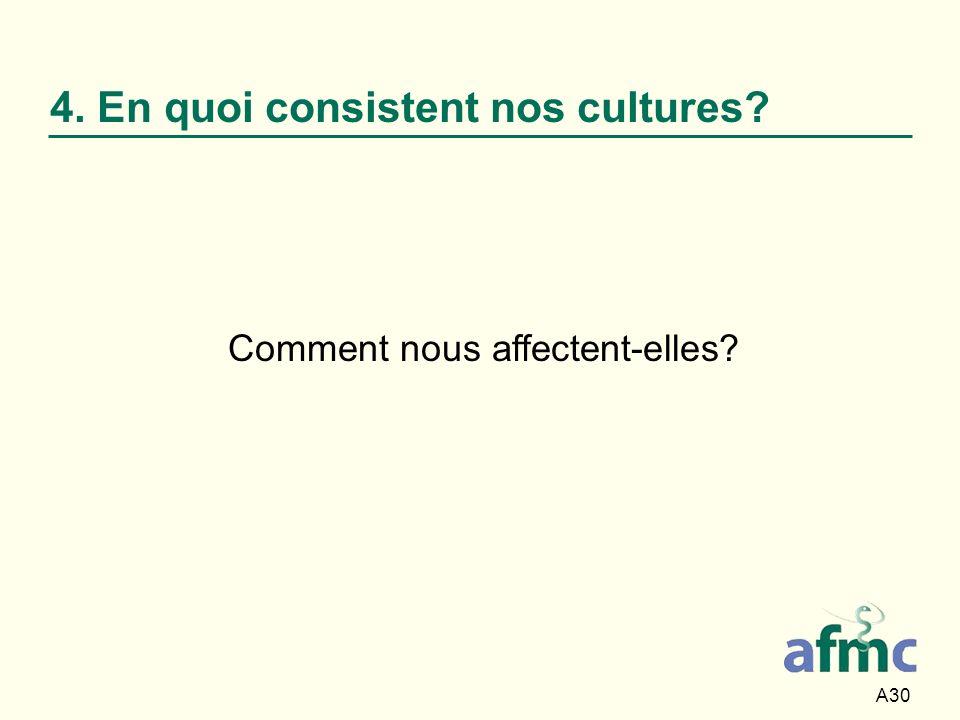 4. En quoi consistent nos cultures