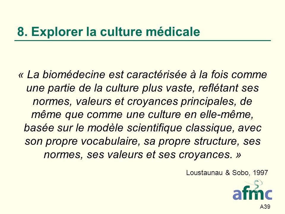 8. Explorer la culture médicale