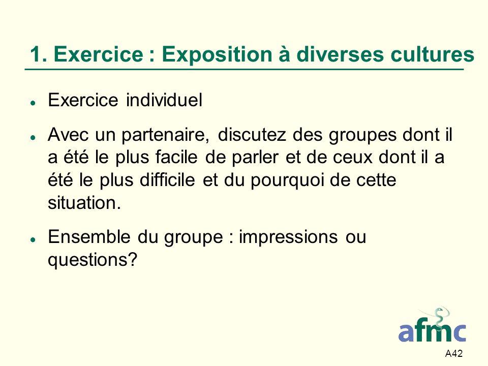 1. Exercice : Exposition à diverses cultures