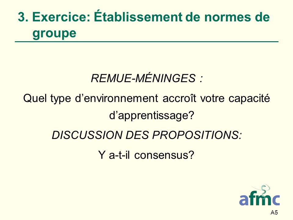 3. Exercice: Établissement de normes de groupe