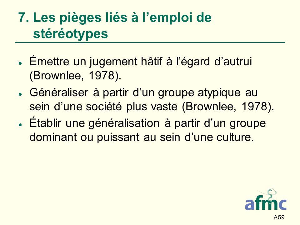 7. Les pièges liés à l'emploi de stéréotypes
