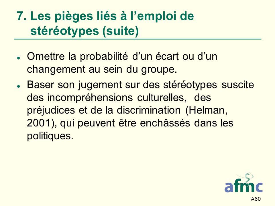 7. Les pièges liés à l'emploi de stéréotypes (suite)