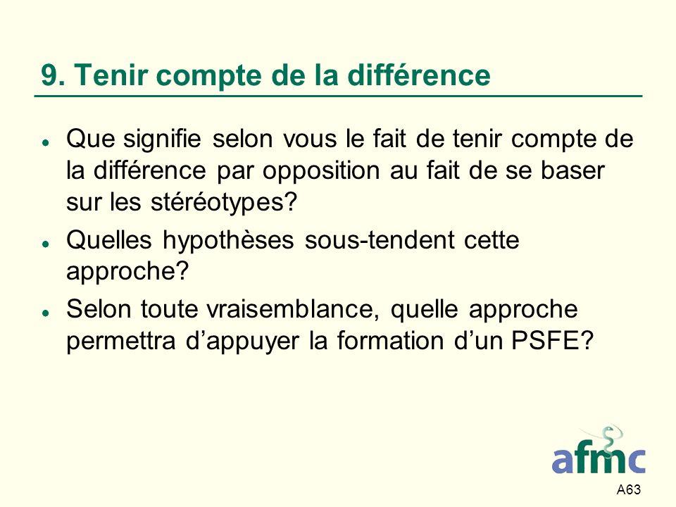 9. Tenir compte de la différence