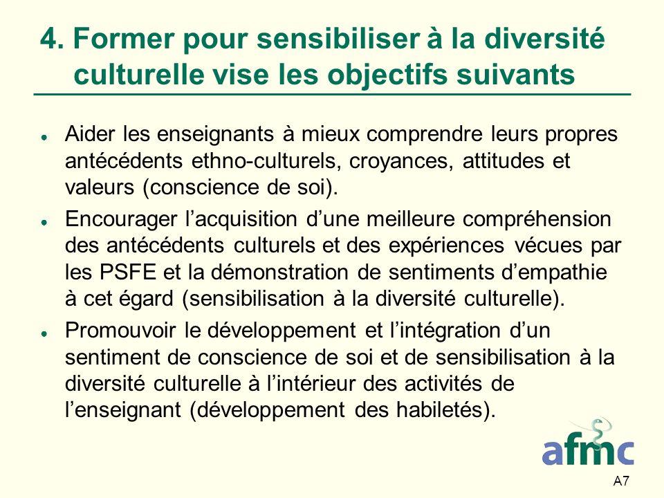 4. Former pour sensibiliser à la diversité culturelle vise les objectifs suivants