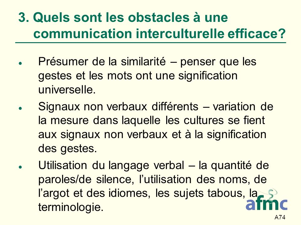 3. Quels sont les obstacles à une communication interculturelle efficace