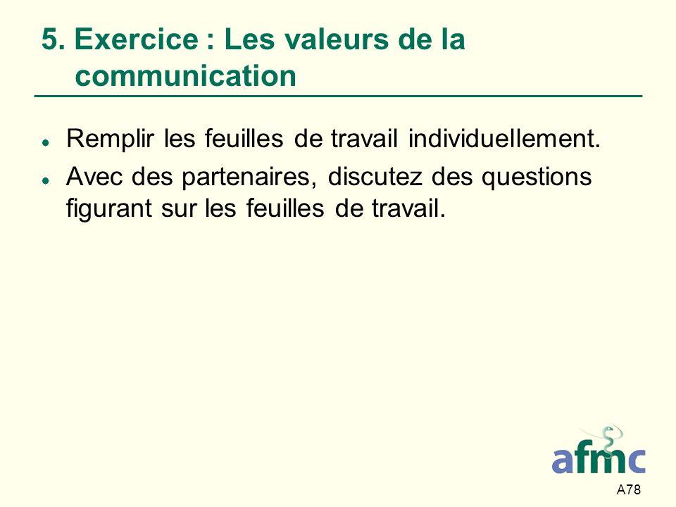 5. Exercice : Les valeurs de la communication