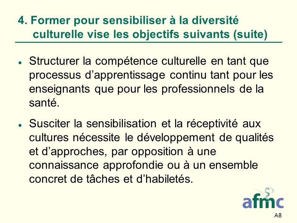4. Former pour sensibiliser à la diversité culturelle vise les objectifs suivants (suite)