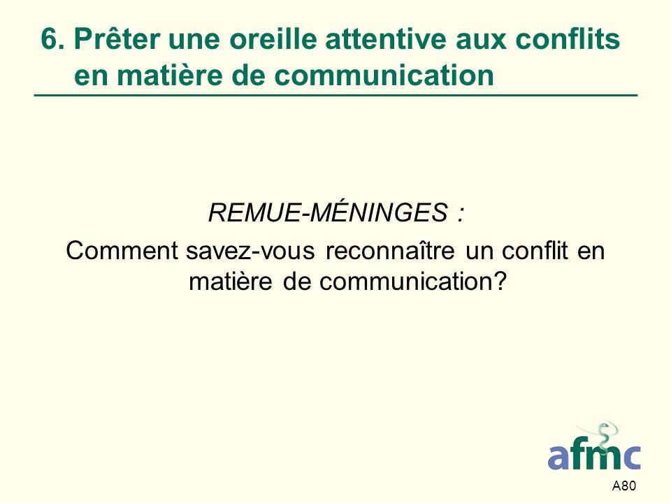 Comment savez-vous reconnaître un conflit en matière de communication