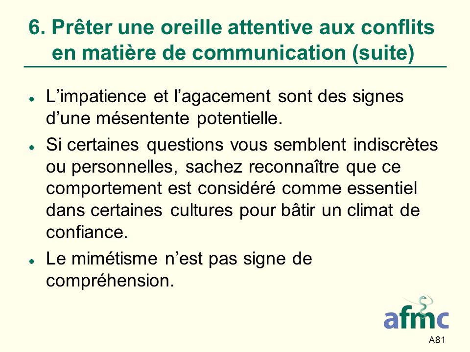 6. Prêter une oreille attentive aux conflits en matière de communication (suite)