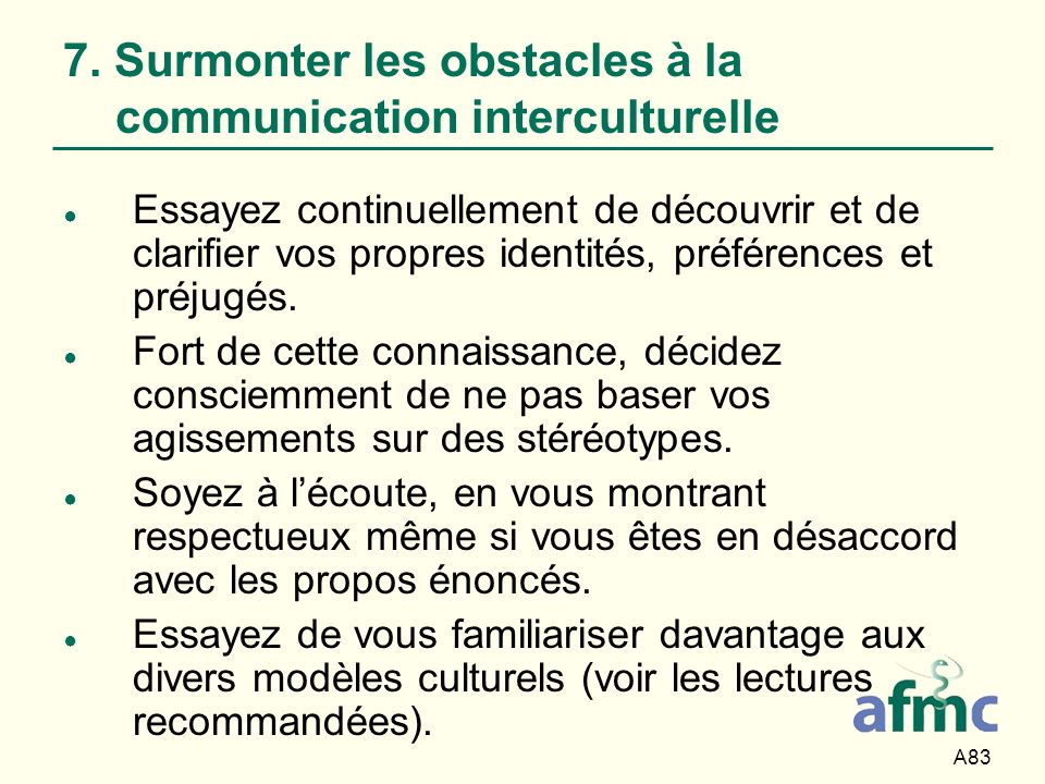 7. Surmonter les obstacles à la communication interculturelle