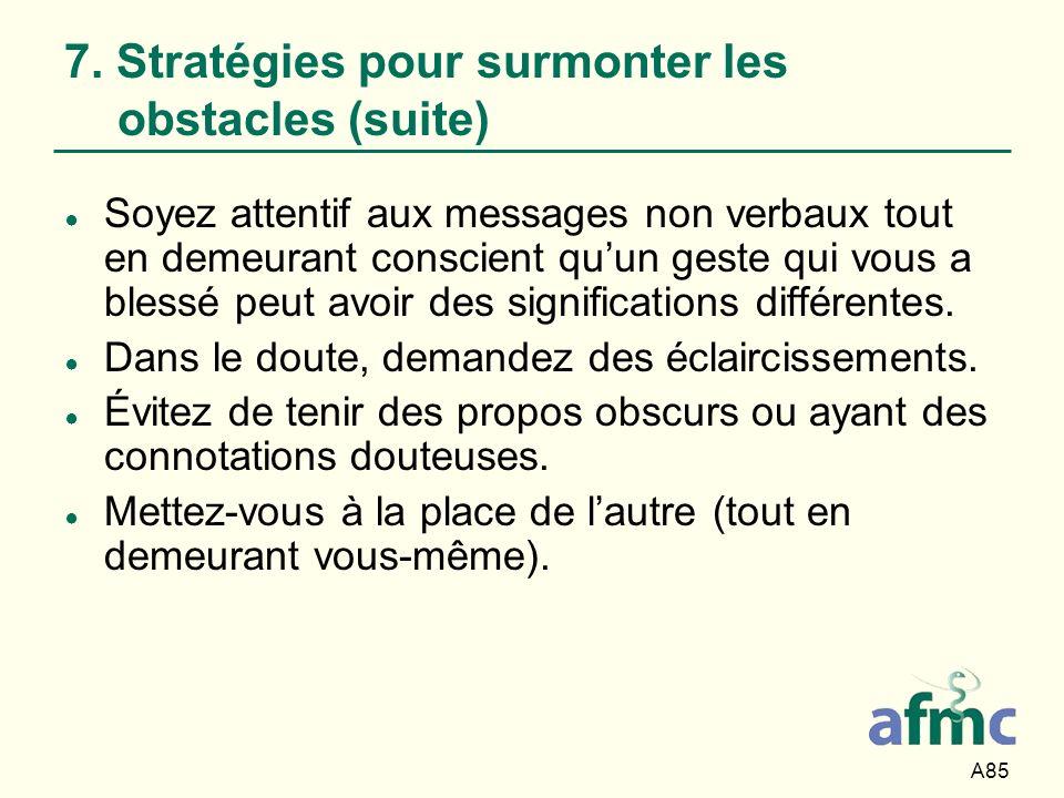7. Stratégies pour surmonter les obstacles (suite)