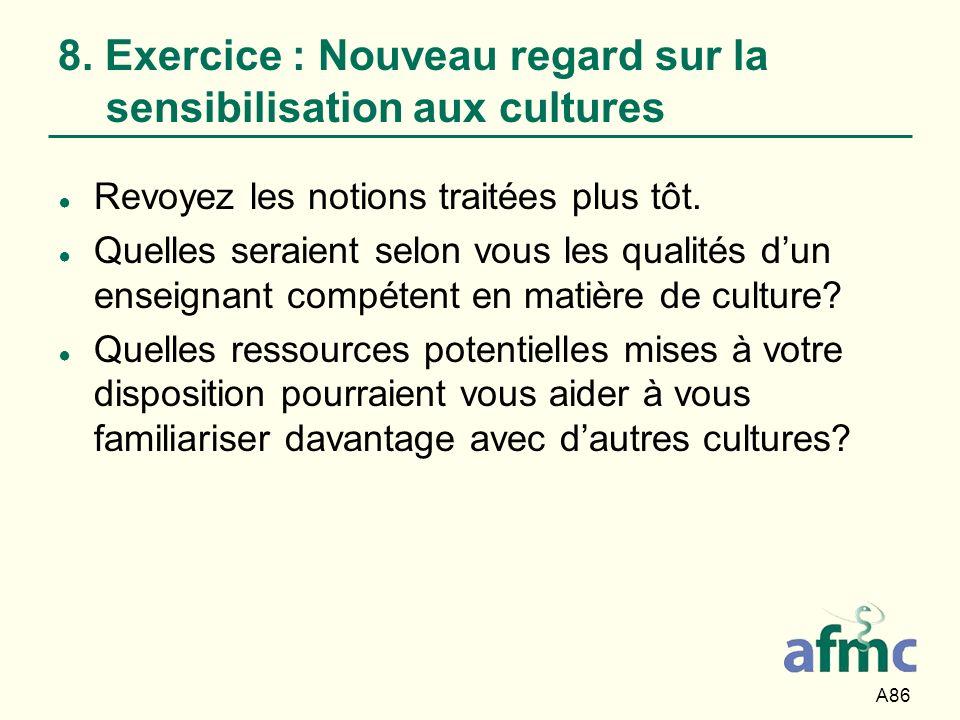 8. Exercice : Nouveau regard sur la sensibilisation aux cultures