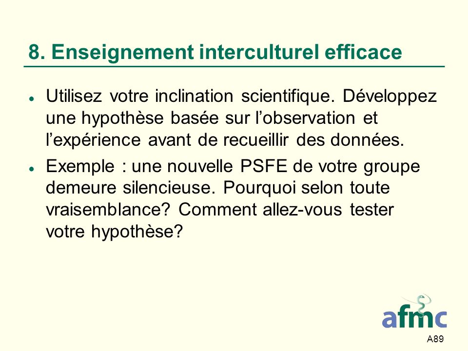 8. Enseignement interculturel efficace