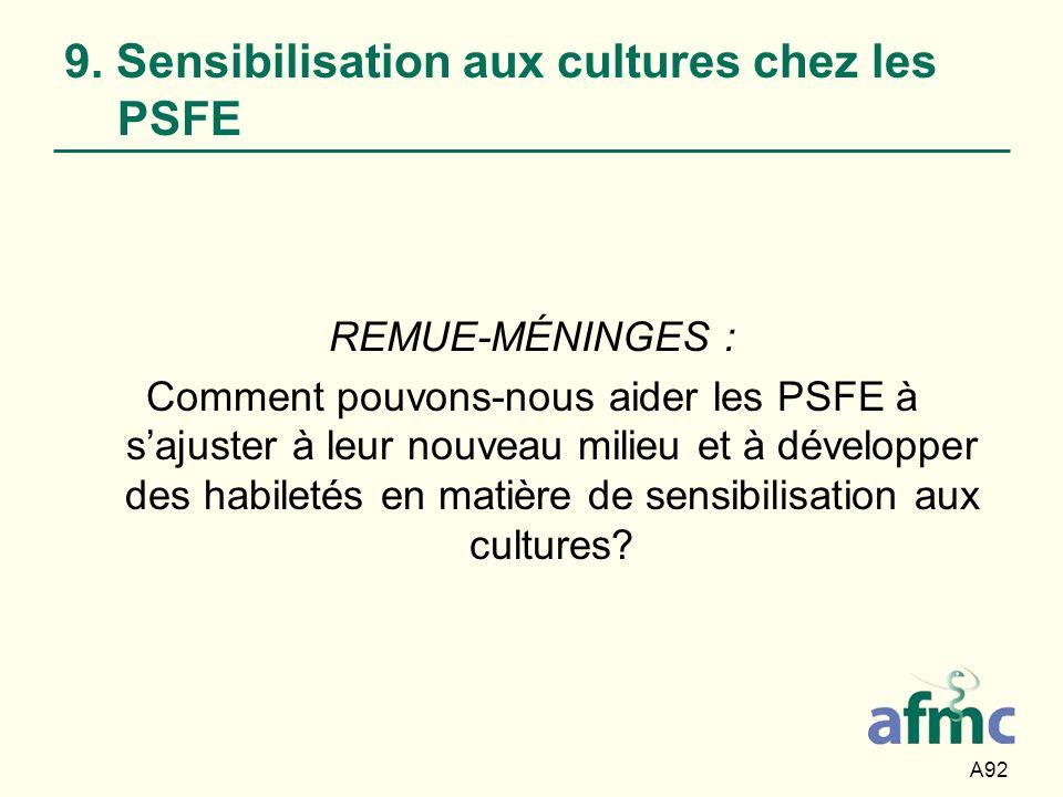 9. Sensibilisation aux cultures chez les PSFE