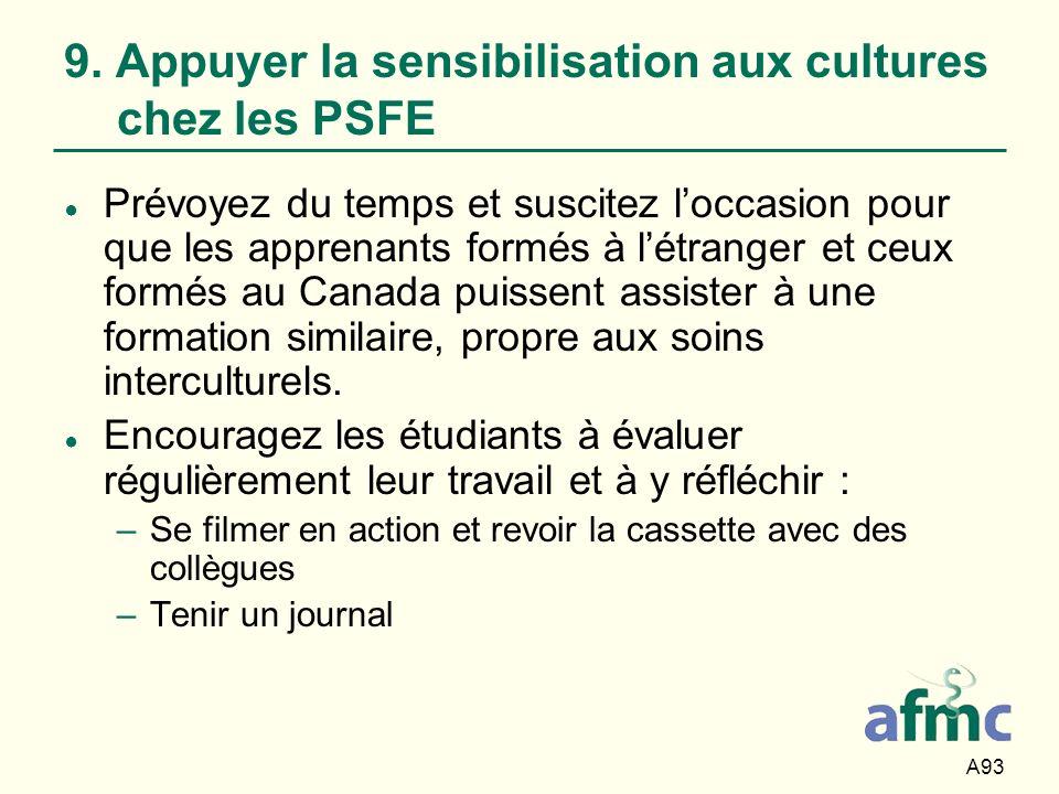 9. Appuyer la sensibilisation aux cultures chez les PSFE