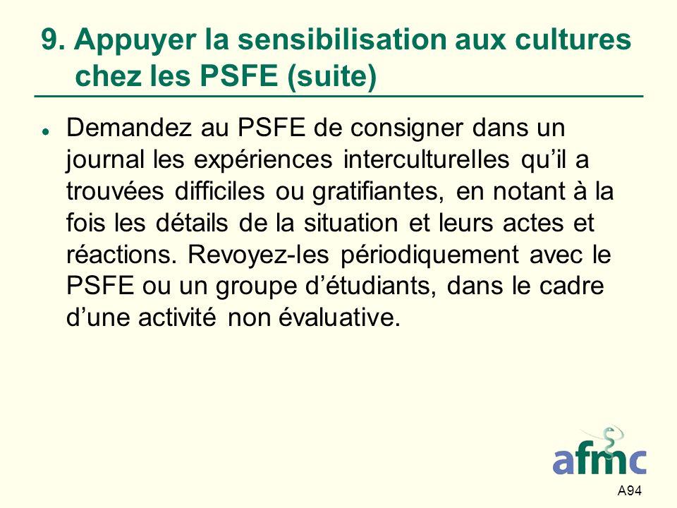 9. Appuyer la sensibilisation aux cultures chez les PSFE (suite)