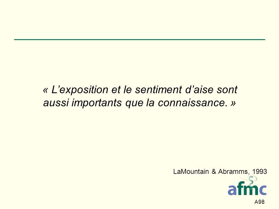 « L'exposition et le sentiment d'aise sont aussi importants que la connaissance. »