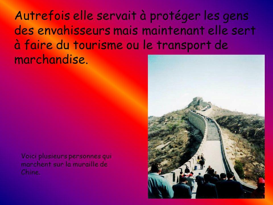 Autrefois elle servait à protéger les gens des envahisseurs mais maintenant elle sert à faire du tourisme ou le transport de marchandise.