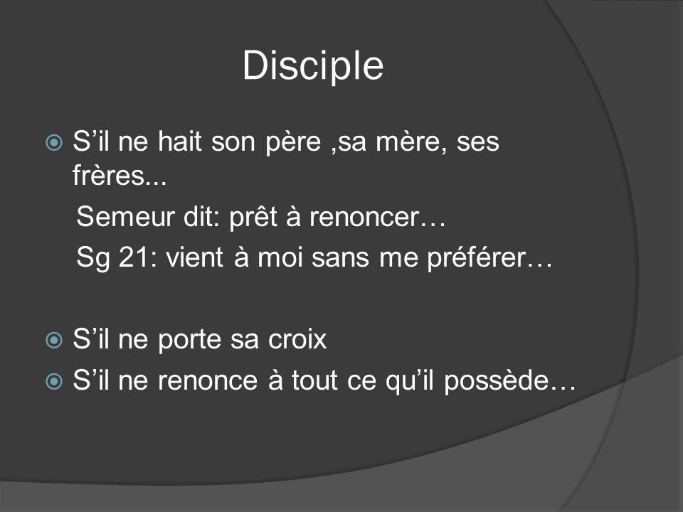 Disciple S'il ne hait son père ,sa mère, ses frères...