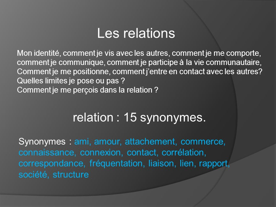 Les relations relation : 15 synonymes.