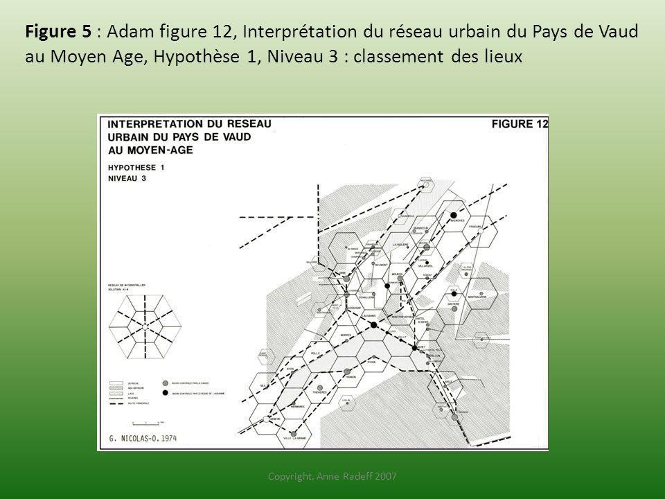 Figure 5 : Adam figure 12, Interprétation du réseau urbain du Pays de Vaud au Moyen Age, Hypothèse 1, Niveau 3 : classement des lieux