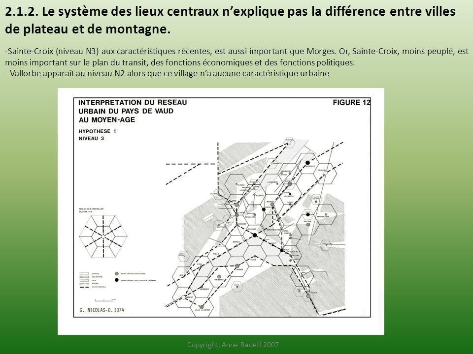 2.1.2. Le système des lieux centraux n'explique pas la différence entre villes de plateau et de montagne.