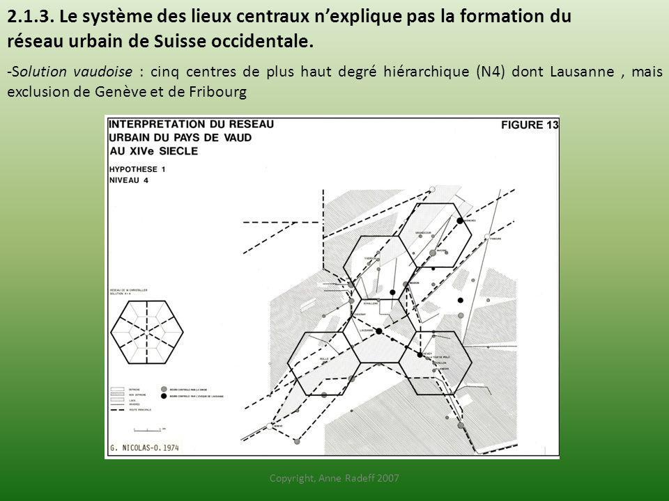 2.1.3. Le système des lieux centraux n'explique pas la formation du réseau urbain de Suisse occidentale.
