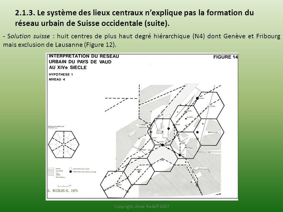 2.1.3. Le système des lieux centraux n'explique pas la formation du réseau urbain de Suisse occidentale (suite).