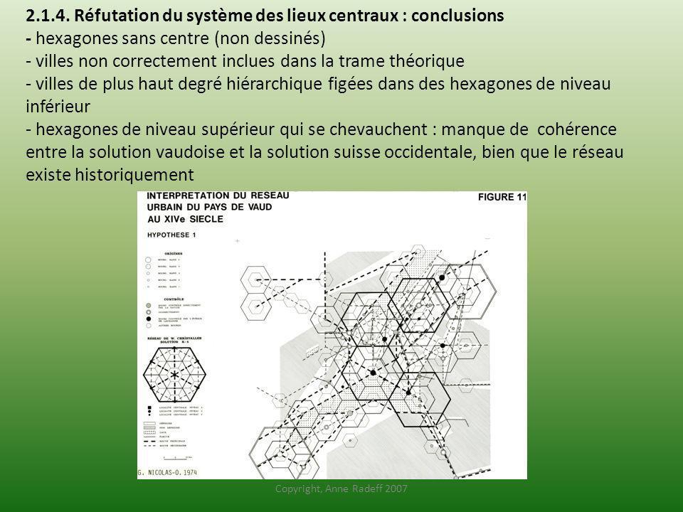 2.1.4. Réfutation du système des lieux centraux : conclusions - hexagones sans centre (non dessinés) - villes non correctement inclues dans la trame théorique - villes de plus haut degré hiérarchique figées dans des hexagones de niveau inférieur - hexagones de niveau supérieur qui se chevauchent : manque de cohérence entre la solution vaudoise et la solution suisse occidentale, bien que le réseau existe historiquement