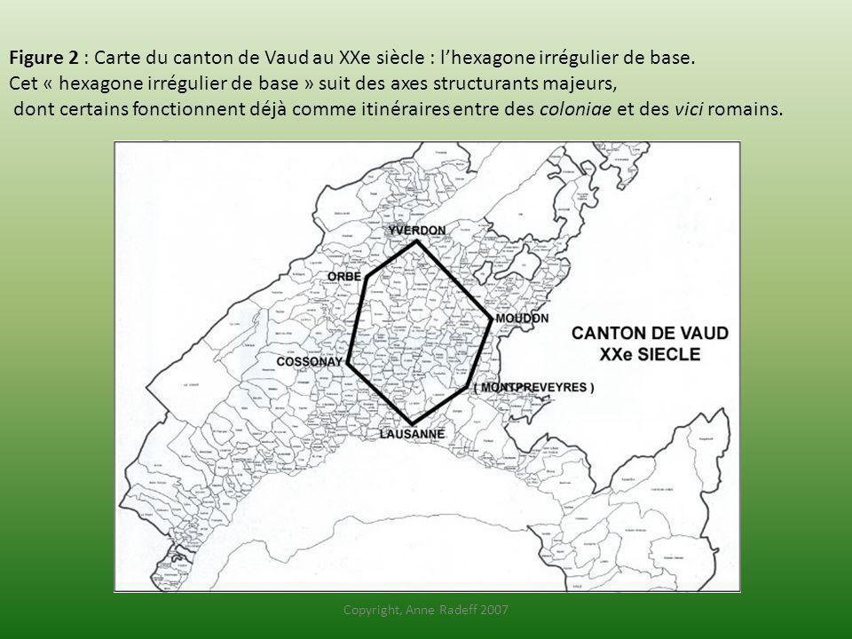 Figure 2 : Carte du canton de Vaud au XXe siècle : l'hexagone irrégulier de base.
