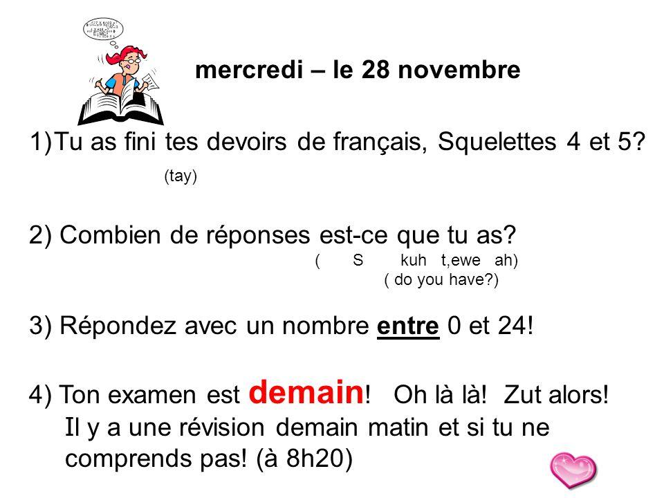Tu as fini tes devoirs de français, Squelettes 4 et 5 (tay)