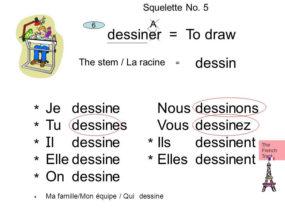dessiner = To draw dessin Je Tu Il Elle On dessin e es Nous Vous Ils