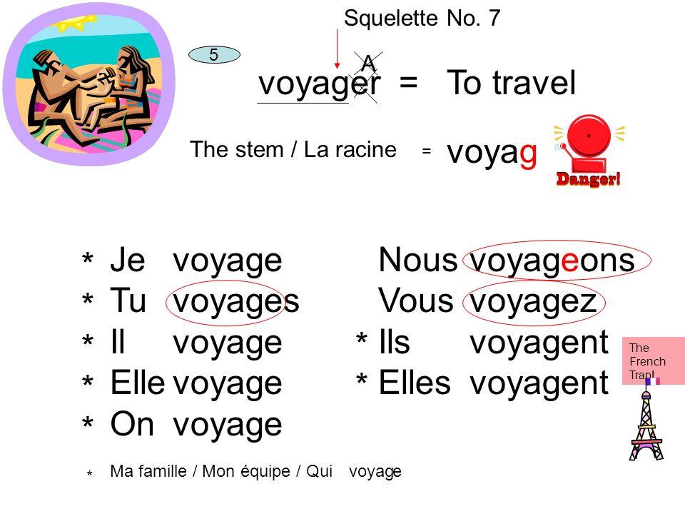 voyager = To travel voyag Je Tu Il Elle On voyag e es Nous Vous Ils
