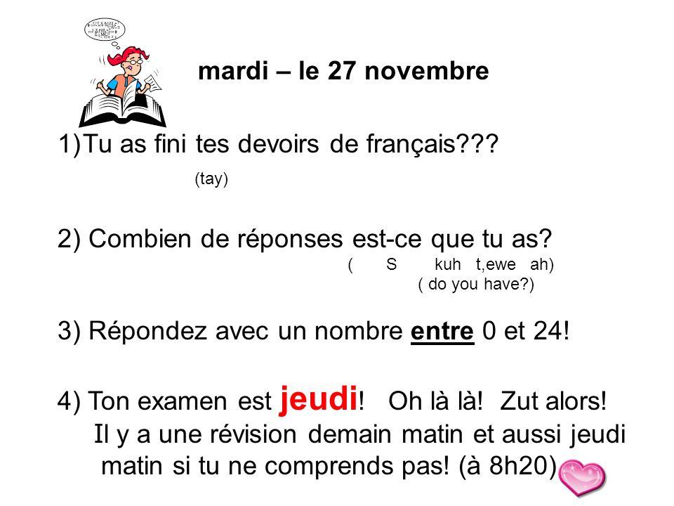 Tu as fini tes devoirs de français (tay)