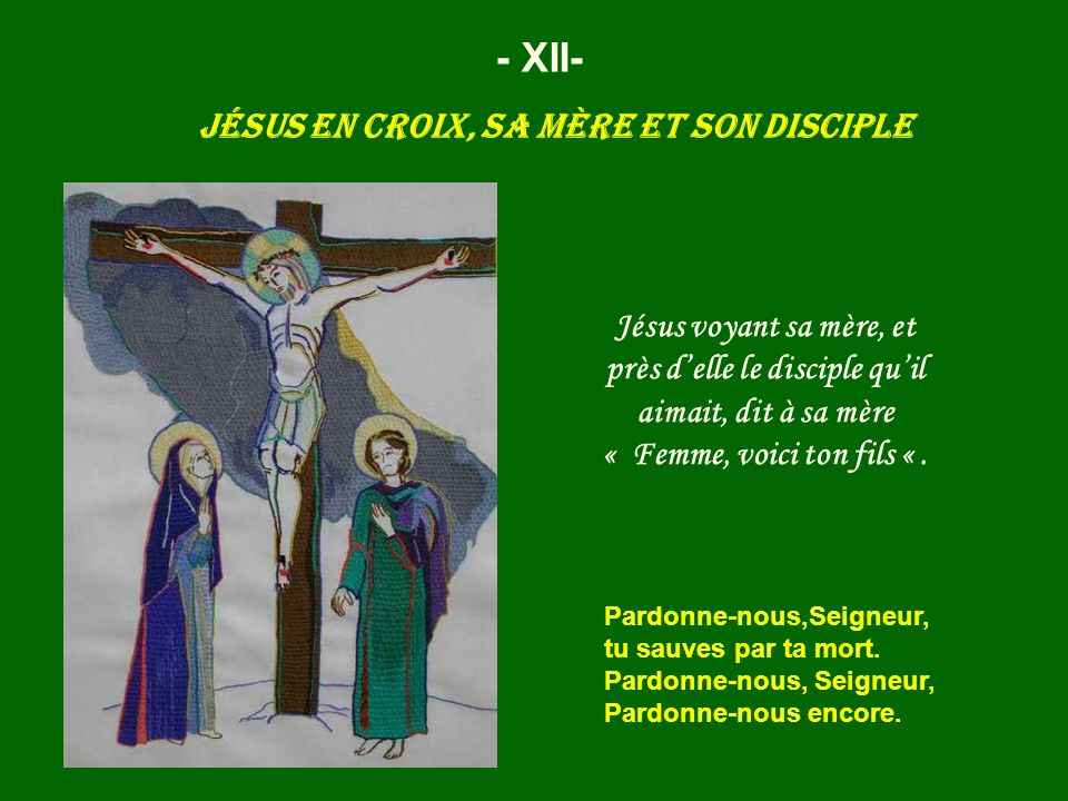 Jésus en croix, sa mère et son disciple
