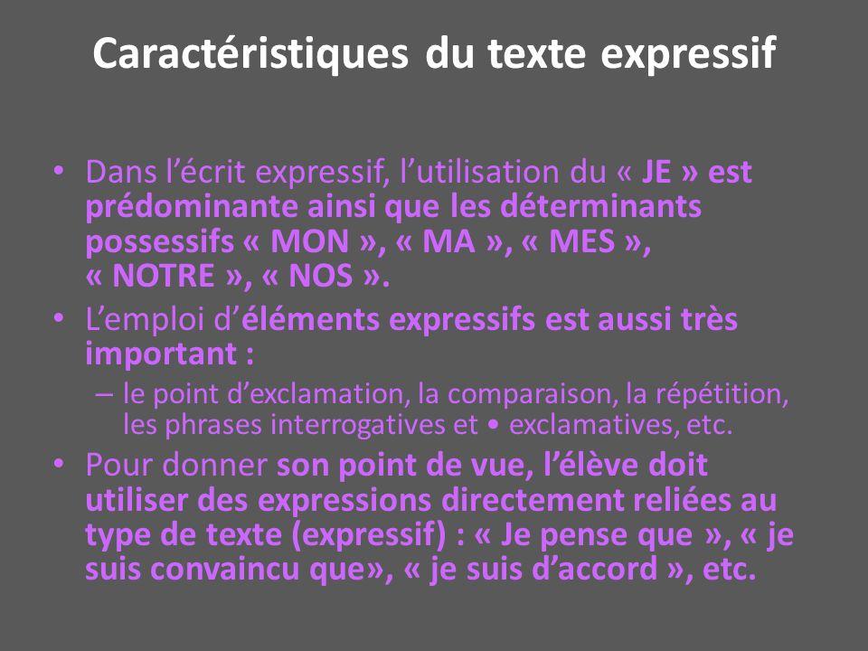 Caractéristiques du texte expressif