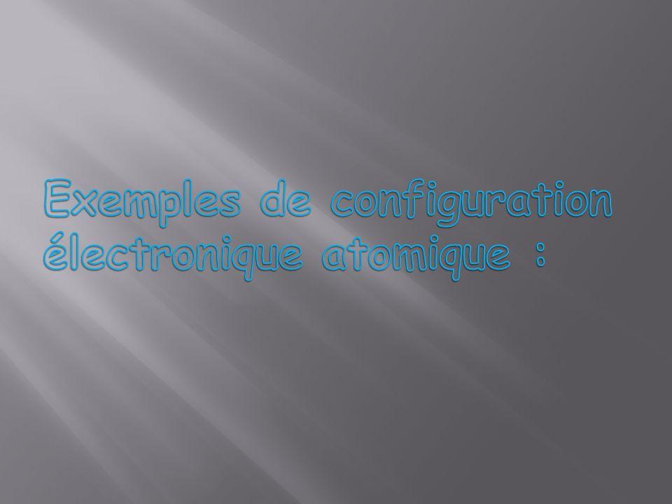Exemples de configuration électronique atomique :