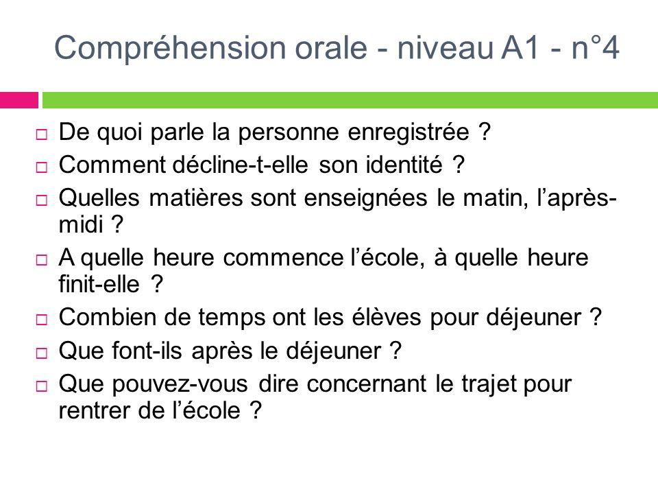 Compréhension orale - niveau A1 - n°4