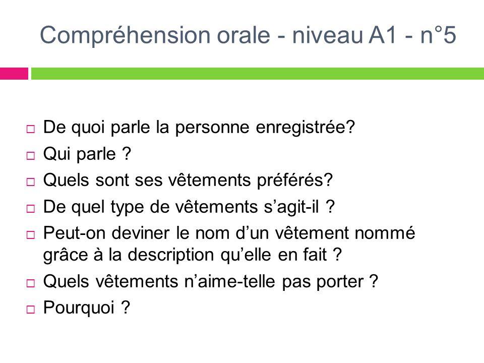 Compréhension orale - niveau A1 - n°5