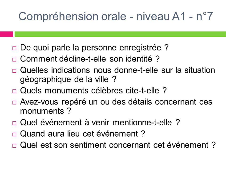 Compréhension orale - niveau A1 - n°7