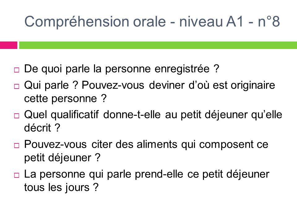 Compréhension orale - niveau A1 - n°8