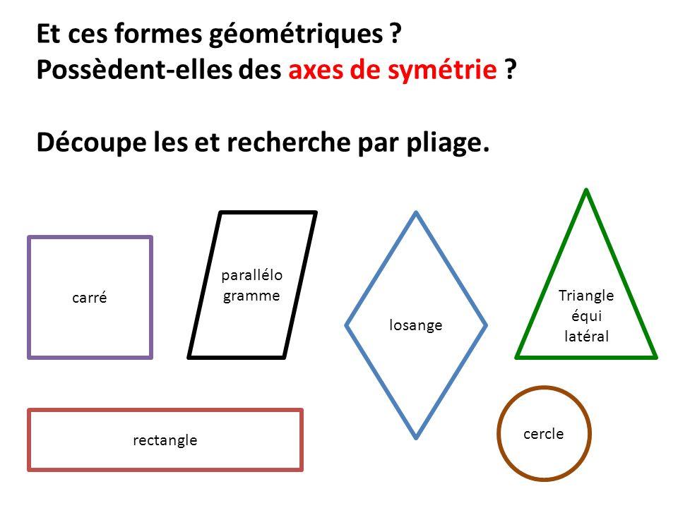 Et ces formes géométriques Possèdent-elles des axes de symétrie