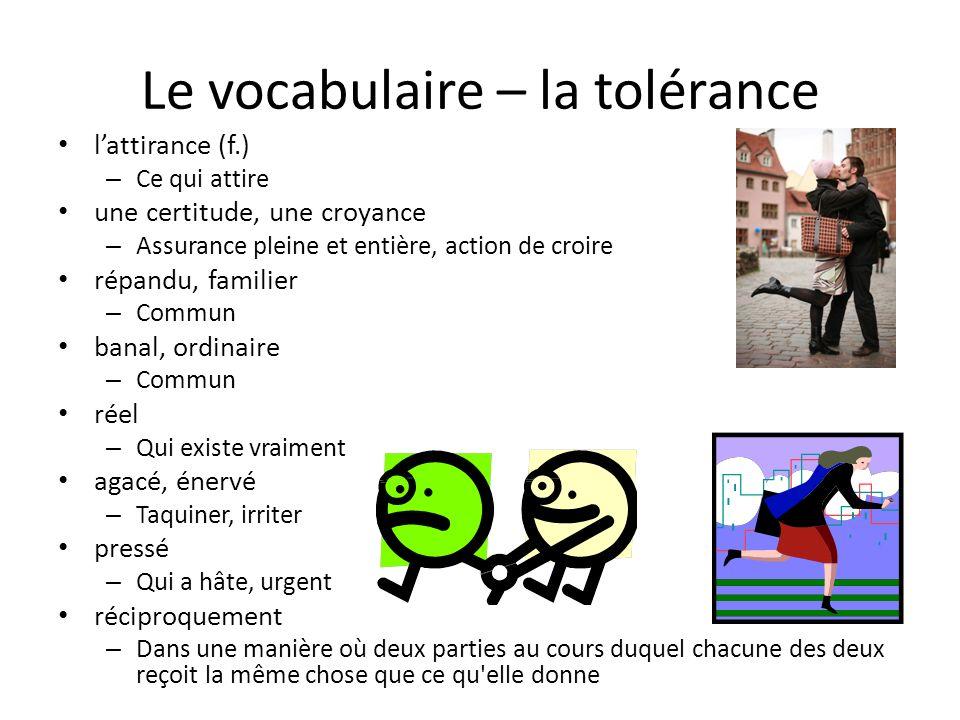 Le vocabulaire – la tolérance